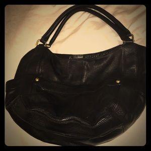 J. Crew black grainy leather Tote bag